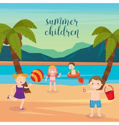 Children Sea Vacation Girls and Boys Playing vector image vector image