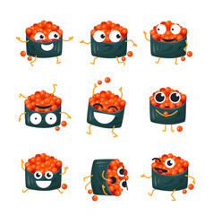 funny sushi with red caviar - isolated vector image vector image