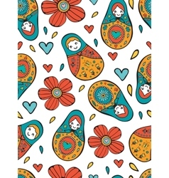 Seamless Russian Dolls pattern vector image vector image