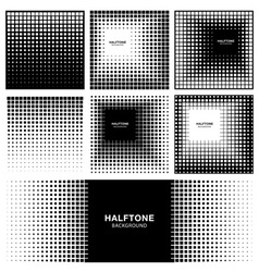 Set of Abstract Halftone Square Backgrounds vector image