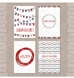 set of cards with hand drawn sketch elements vector image vector image