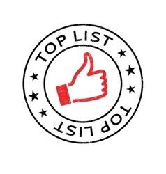 Top list rubber stamp vector