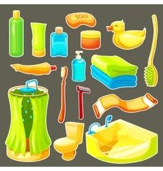 Cartoon bathroom icon set vector