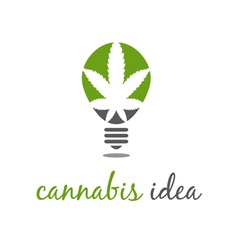 concept of idea bulb with cannabis vector image
