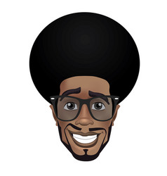 cute afro smiling black guy with sunglasses vector image