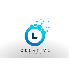 l letter logo blue dots bubble design vector image