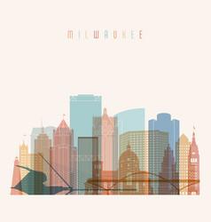 milwaukee state wisconsin skyline detailed vector image