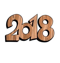 2018 new year wooden figures vector image vector image