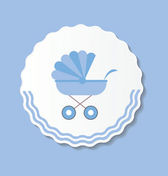 Blue Baby Carriage for vector image vector image