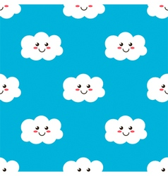 Cartoon smiling clouds seamless pattern background vector image vector image