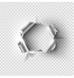 ragged hole torn in ripped metal vector image vector image