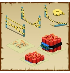 Set of dynamite and police tape vector image