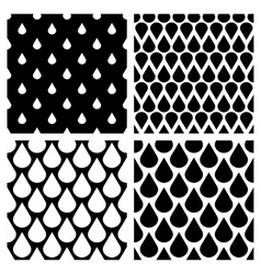 Set of water drops seamless patterns in vector image vector image