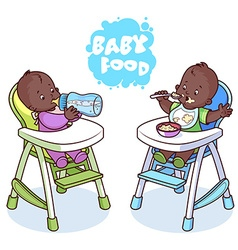 Two kids in baby highchair vector image vector image