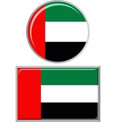 United Arab Emirates round and square icon flag vector image vector image