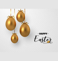 3d metallic golden eggs hanging foil bow vector image