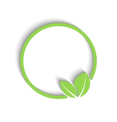 3D round green frame fresh leafs of plant mockup vector