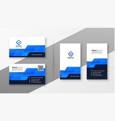 abstract blue geometric style business card vector image