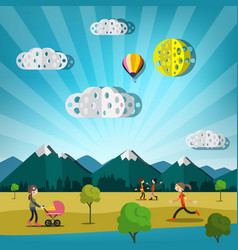 Abstract landscape with paper cut clouds hot air vector