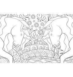 adult coloring bookpage two unicorns on the vector image