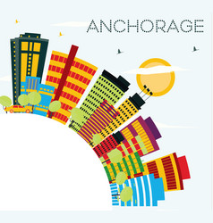 Anchorage skyline with color buildings blue sky vector