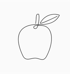 apple - one line drawing continuous line fruit vector image