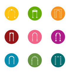 Arch space icons set flat style vector