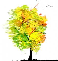 Autumn tree with birds vector