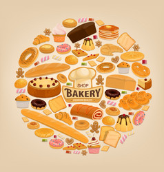 Bakery shop cakesand sweet pastry desserts vector