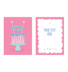 birthday greeting card with cake vector image