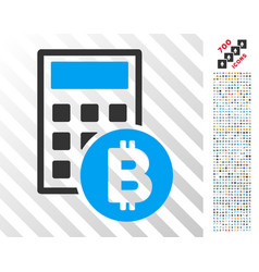 Bitcoin calculator flat icon with bonus vector