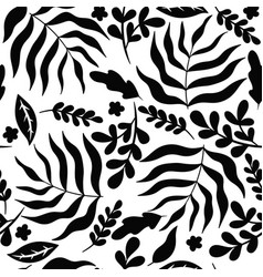 black-white seamless pattern with leaves vector image