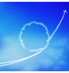 Blue sky background with trace of an airplane vector