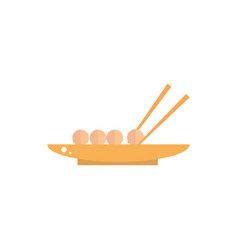 bowl with food sticks culture traditional japan vector image