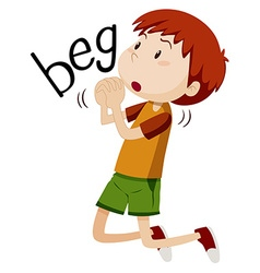 Boy begging for something vector