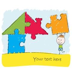 Boy solving puzzle house vector