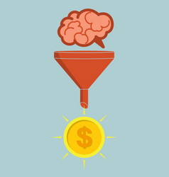 Business concept sales funnel converting brains vector