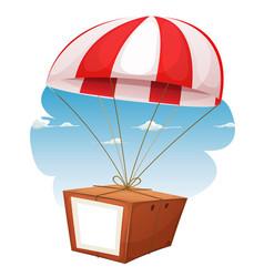 Cardboard shipping via airmail vector