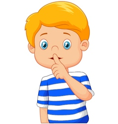 Cartoon boy with finger over his mouth vector