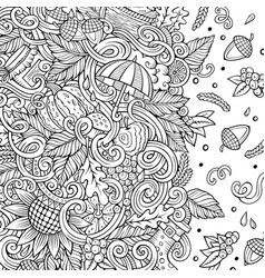 cartoon doodles autumn frame line art vector image