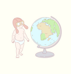 child looks at the globe doodle vector image