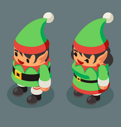 christmas elf santa claus helper isometric male vector image