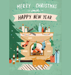 christmas greeting card with cozy home interior vector image