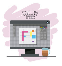 Colorful background with display computer with vector