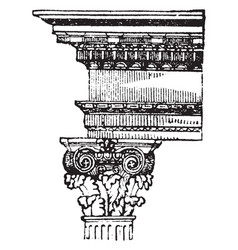 Composite order leaves vintage engraving vector