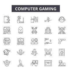 Computer gaming line icons for web and mobile vector