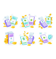 contactless payments set mobile transfers vector image