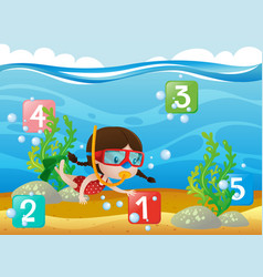 Counting numbers with girl diving underwater vector