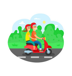 Couple on motorbike travelers in helmets highway vector