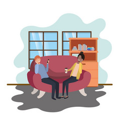 couple using smartphone in office work vector image